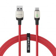 Cable Braided BlitzWolf BW-TC21 USB 2.0 Cable USB-C Male To USB-A Male Red 1m
