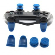 Extended Trigger R2 L2 Blue & FPS Grips Caps Blue - PS4 Controller