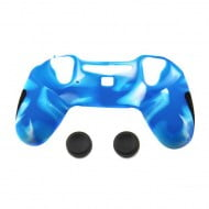 Silicone Case Skin Camouflage Blue & Thumbstick Black Grips Caps - PS4 Controller