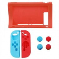 Silicone Case Skin Red With Thumbstick Caps Grip - Nintendo Switch Console