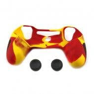 Silicone Case Skin Camouflage Red / Yellow & Thumbstick Black Grips Caps - PS4 Controller